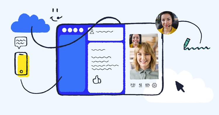 Hand-drawn illustration resembling CxEngage contact center agent interface
